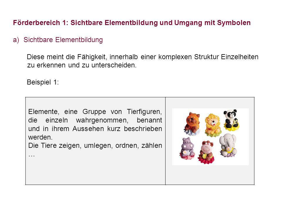 Förderbereich 1: Sichtbare Elementbildung und Umgang mit Symbolen