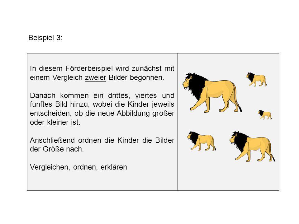 Beispiel 3: In diesem Förderbeispiel wird zunächst mit einem Vergleich zweier Bilder begonnen.