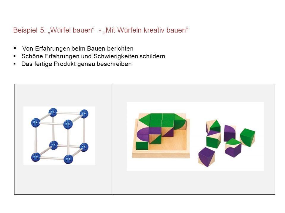 """Beispiel 5: """"Würfel bauen - """"Mit Würfeln kreativ bauen"""