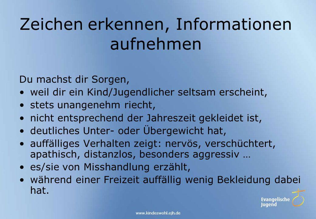 Zeichen erkennen, Informationen aufnehmen