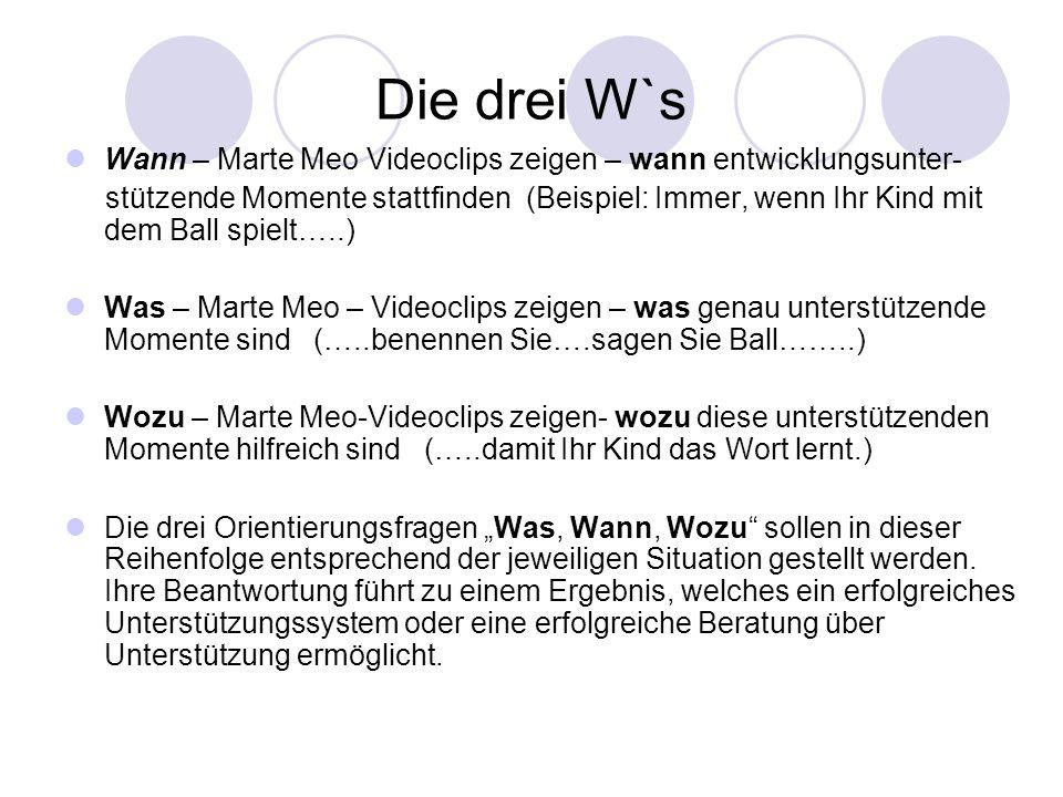 Die drei W`s Wann – Marte Meo Videoclips zeigen – wann entwicklungsunter-