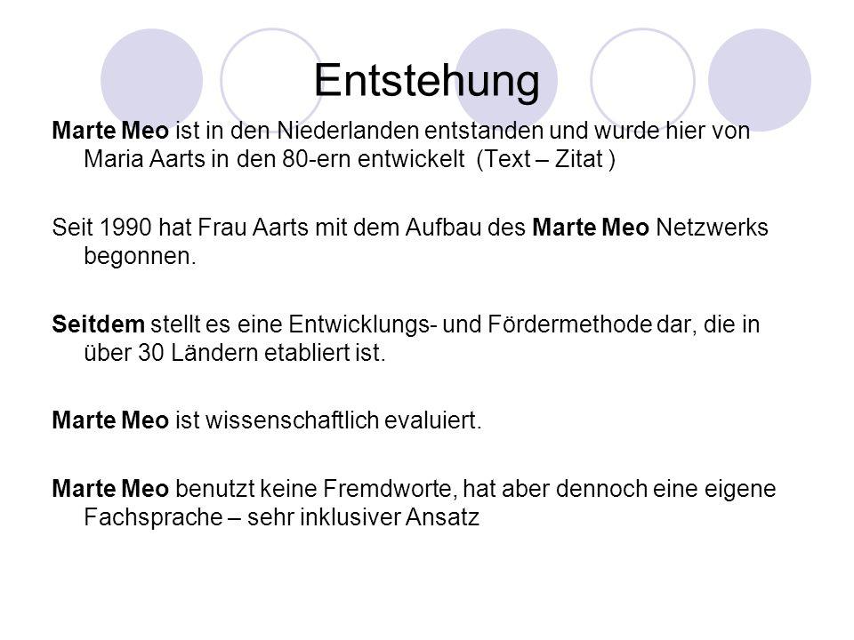 Entstehung Marte Meo ist in den Niederlanden entstanden und wurde hier von Maria Aarts in den 80-ern entwickelt (Text – Zitat )