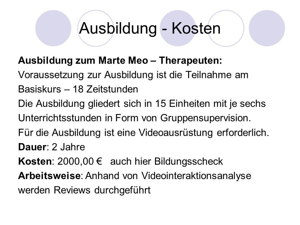 Ausbildung - Kosten Ausbildung zum Marte Meo – Therapeuten: