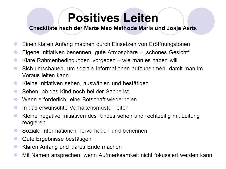Positives Leiten Checkliste nach der Marte Meo Methode Maria und Josje Aarts