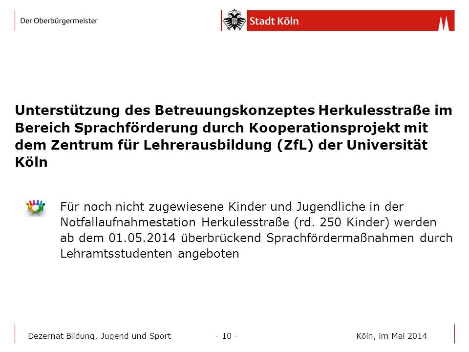 Unterstützung des Betreuungskonzeptes Herkulesstraße im Bereich Sprachförderung durch Kooperationsprojekt mit dem Zentrum für Lehrerausbildung (ZfL) der Universität Köln