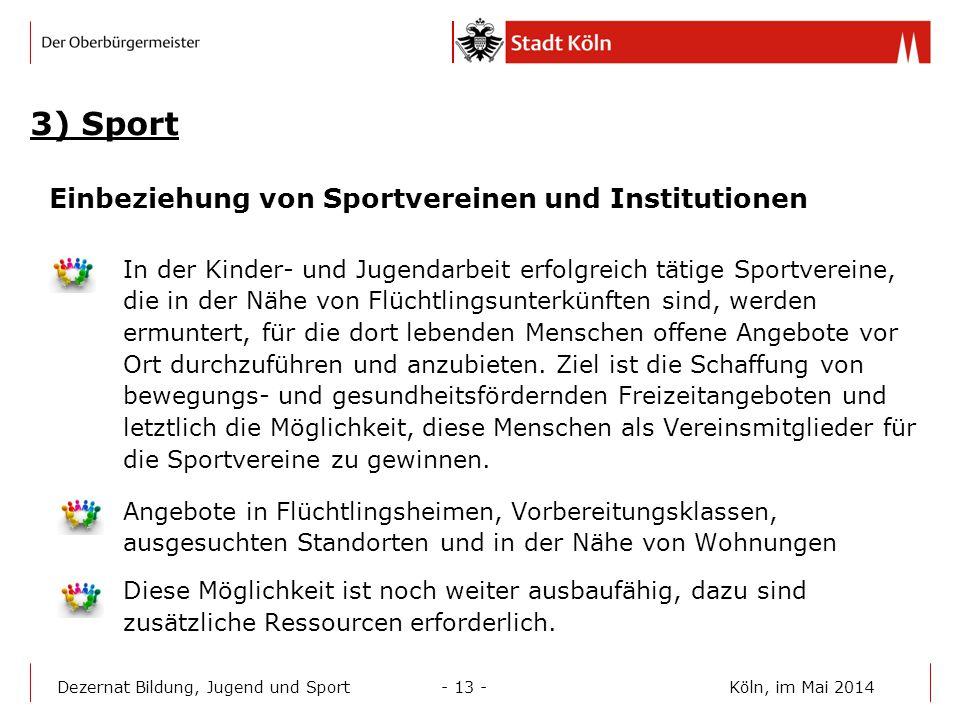 3) Sport Einbeziehung von Sportvereinen und Institutionen
