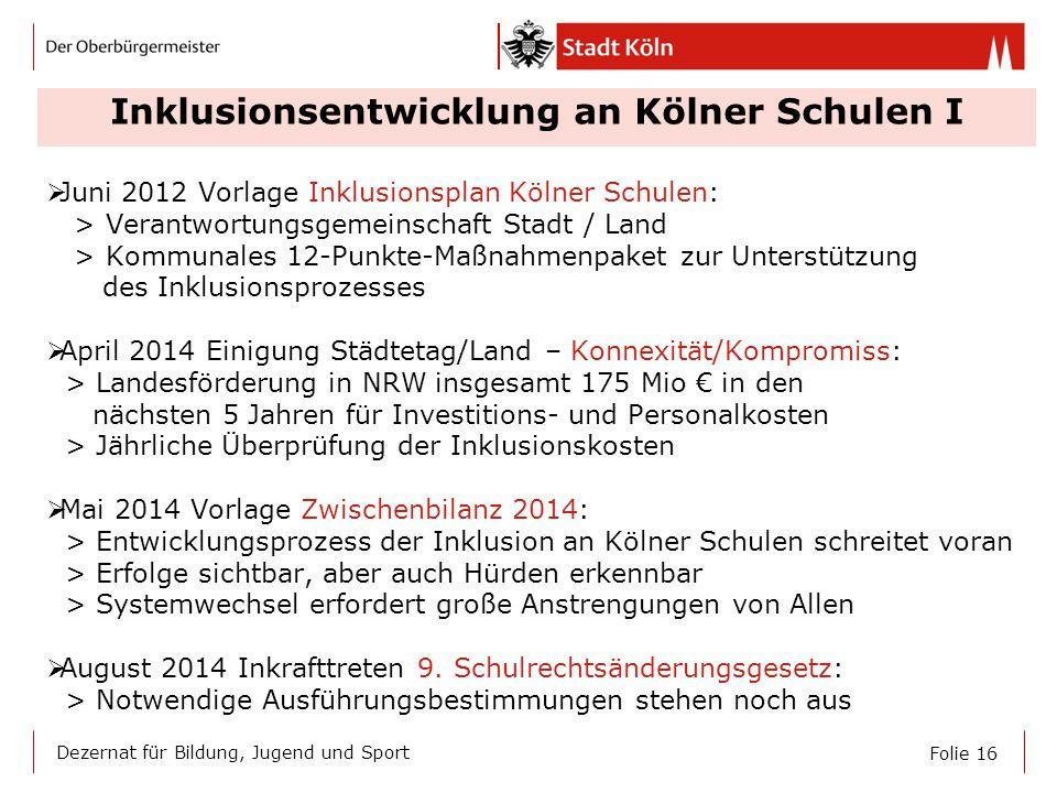 Inklusionsentwicklung an Kölner Schulen I