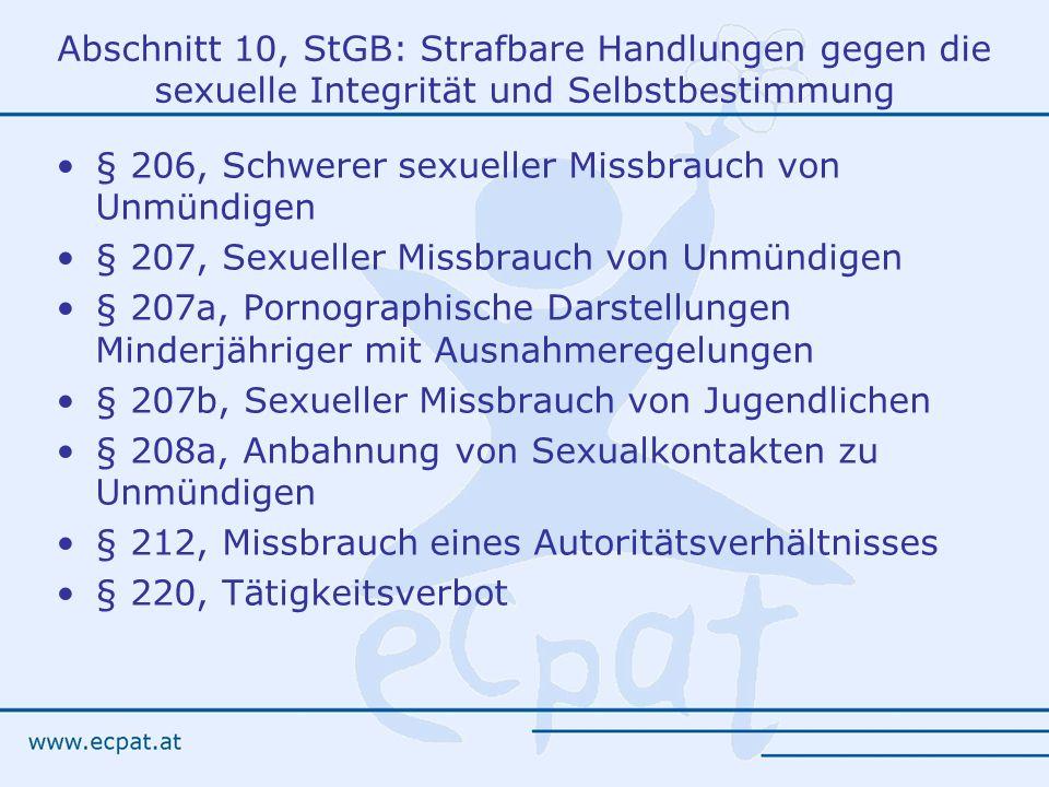 Abschnitt 10, StGB: Strafbare Handlungen gegen die sexuelle Integrität und Selbstbestimmung