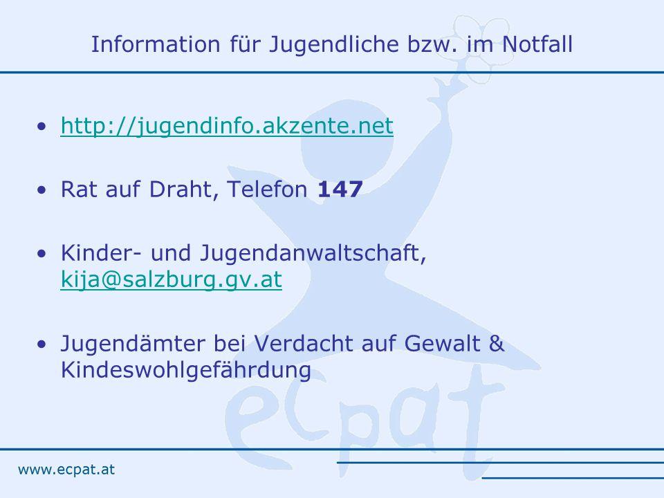 Information für Jugendliche bzw. im Notfall