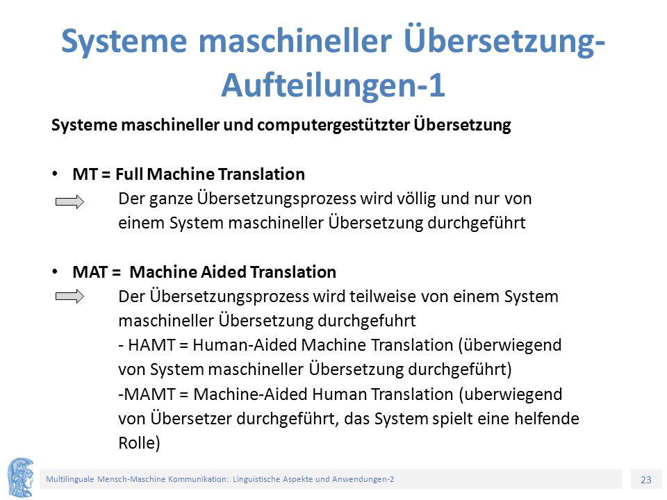 Systeme maschineller Übersetzung-Aufteilungen-1