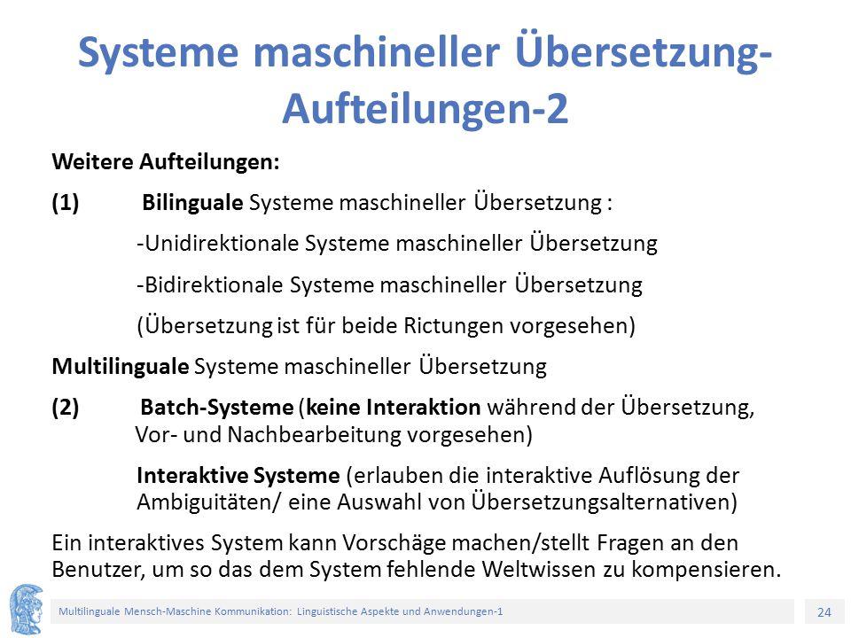 Systeme maschineller Übersetzung-Aufteilungen-2