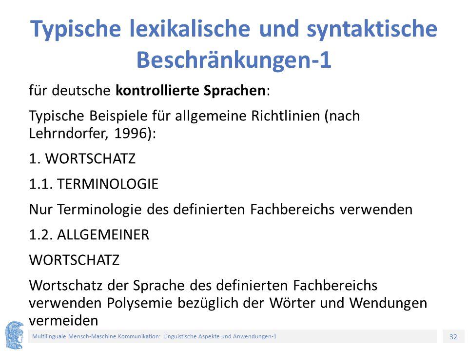 Typische lexikalische und syntaktische Beschränkungen-1