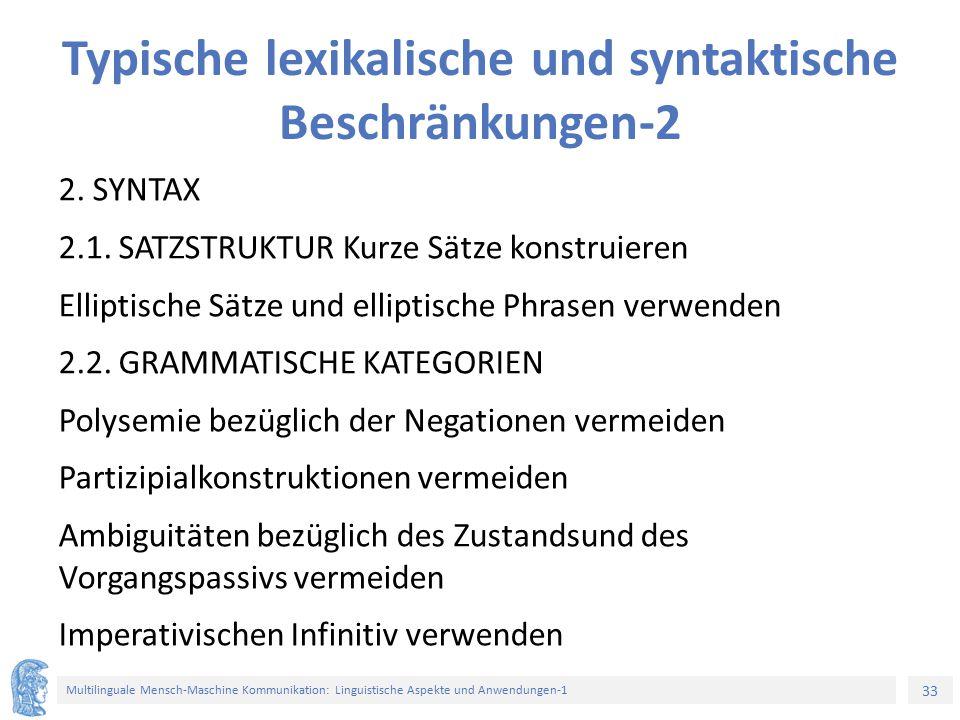 Typische lexikalische und syntaktische Beschränkungen-2