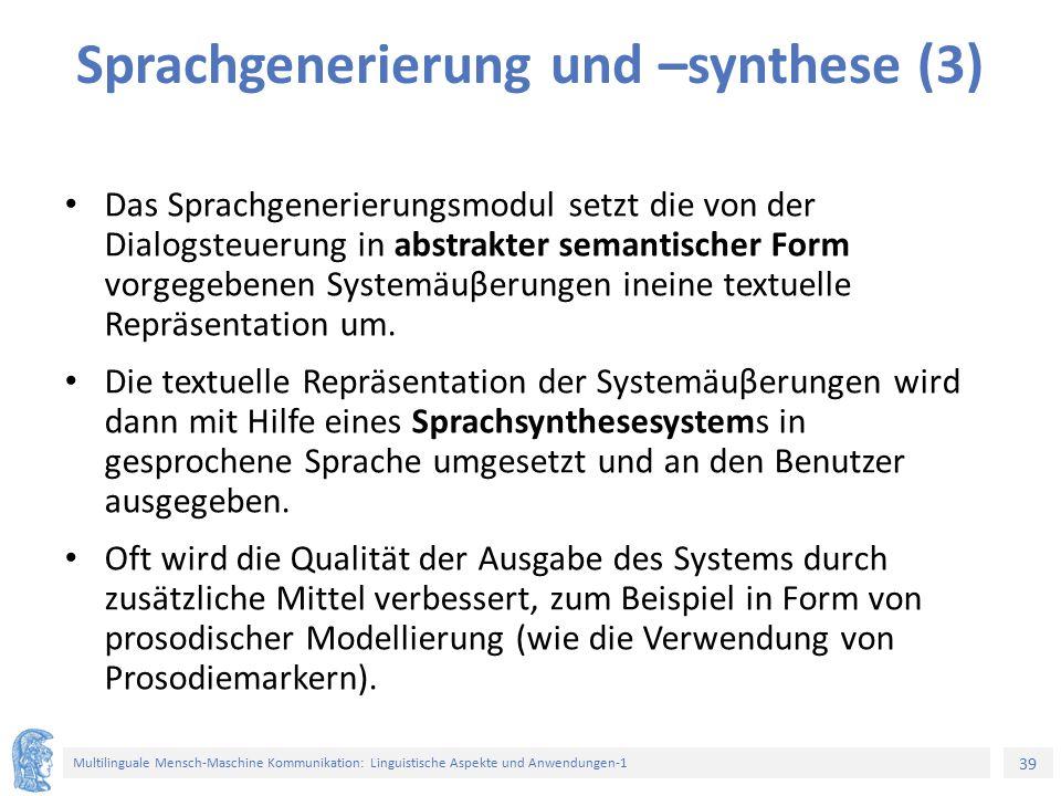 Sprachgenerierung und –synthese (3)