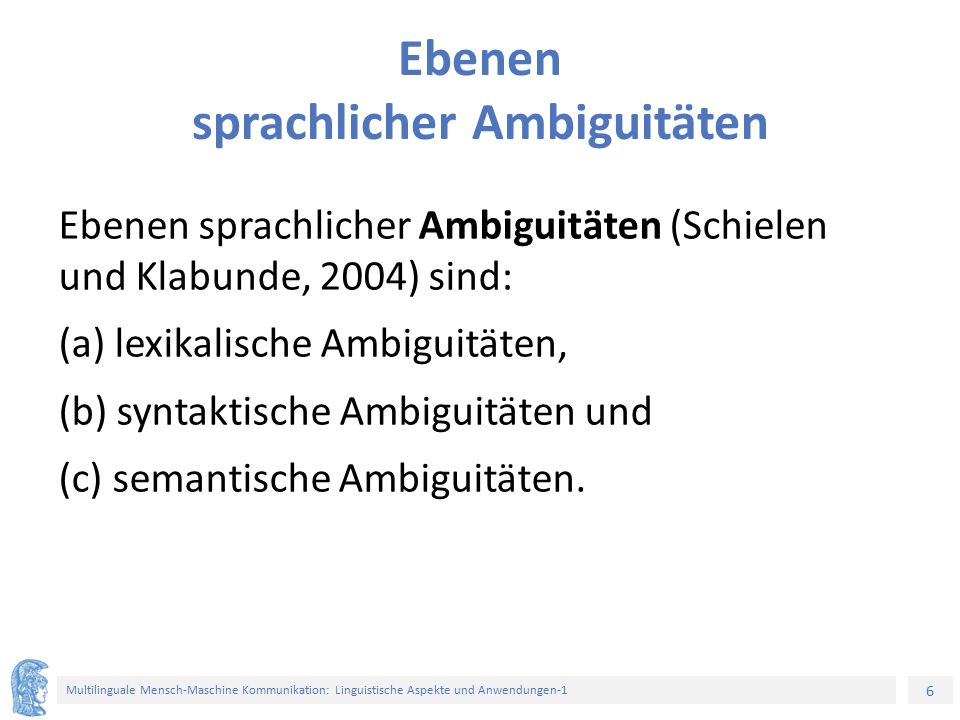 Ebenen sprachlicher Ambiguitäten