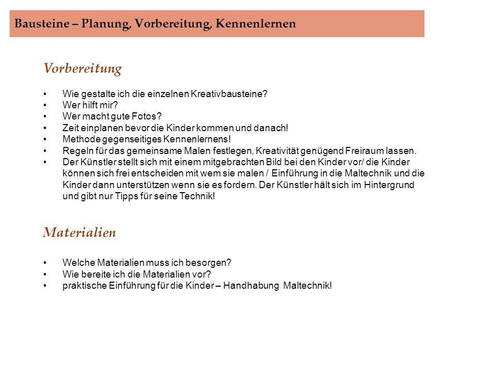 Bausteine – Planung, Vorbereitung, Kennenlernen