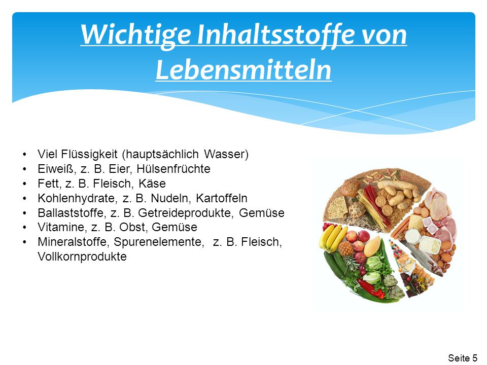 Wichtige Inhaltsstoffe von Lebensmitteln