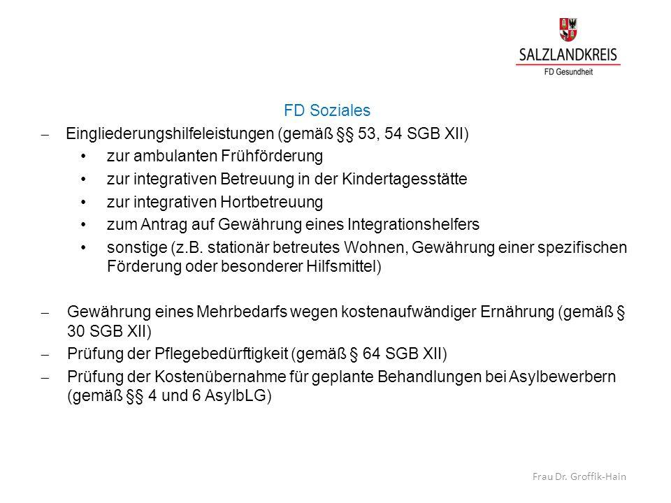 Eingliederungshilfeleistungen (gemäß §§ 53, 54 SGB XII)