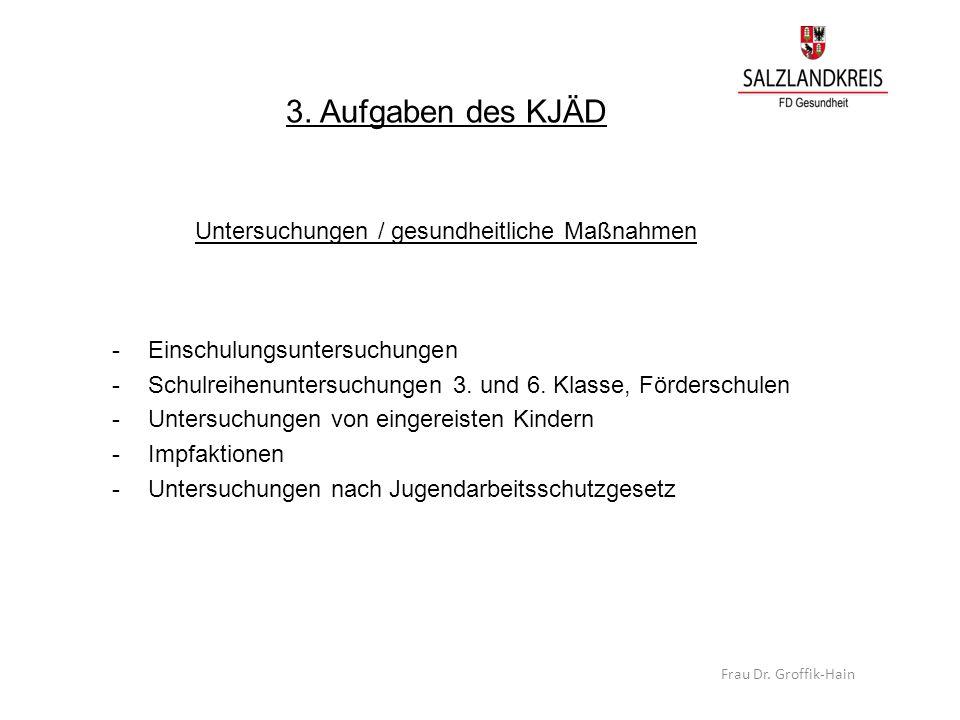 3. Aufgaben des KJÄD Untersuchungen / gesundheitliche Maßnahmen