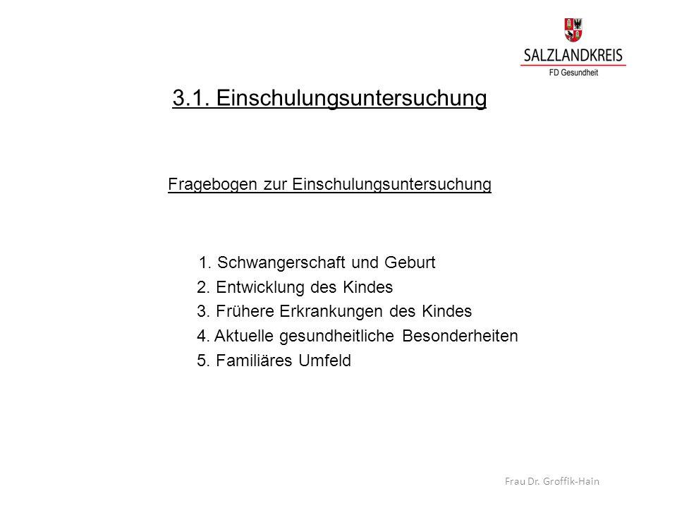 3.1. Einschulungsuntersuchung Fragebogen zur Einschulungsuntersuchung