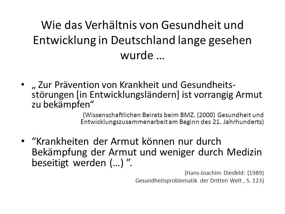 Wie das Verhältnis von Gesundheit und Entwicklung in Deutschland lange gesehen wurde …