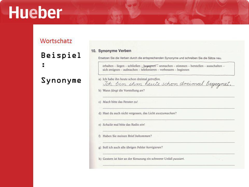 Wortschatz Beispiel: Synonyme