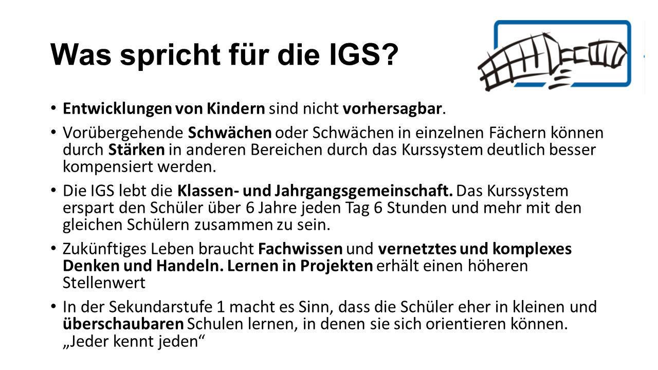 Was spricht für die IGS Entwicklungen von Kindern sind nicht vorhersagbar.