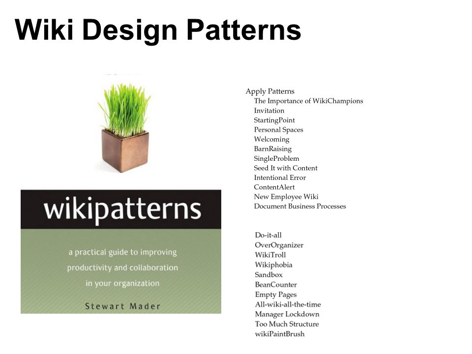 Wiki Design Patterns