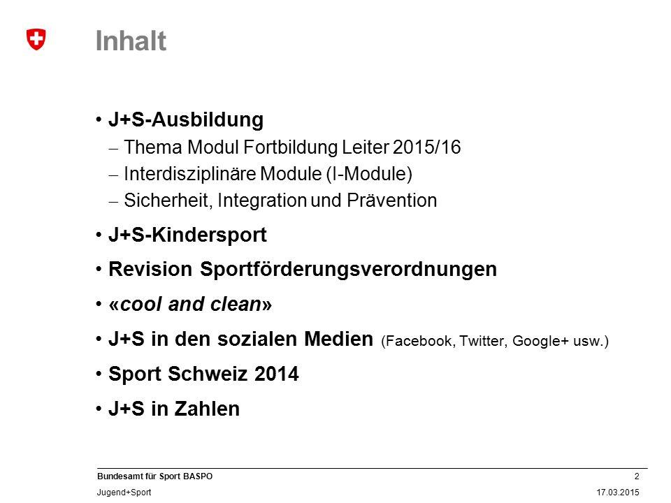 Inhalt J+S-Ausbildung J+S-Kindersport