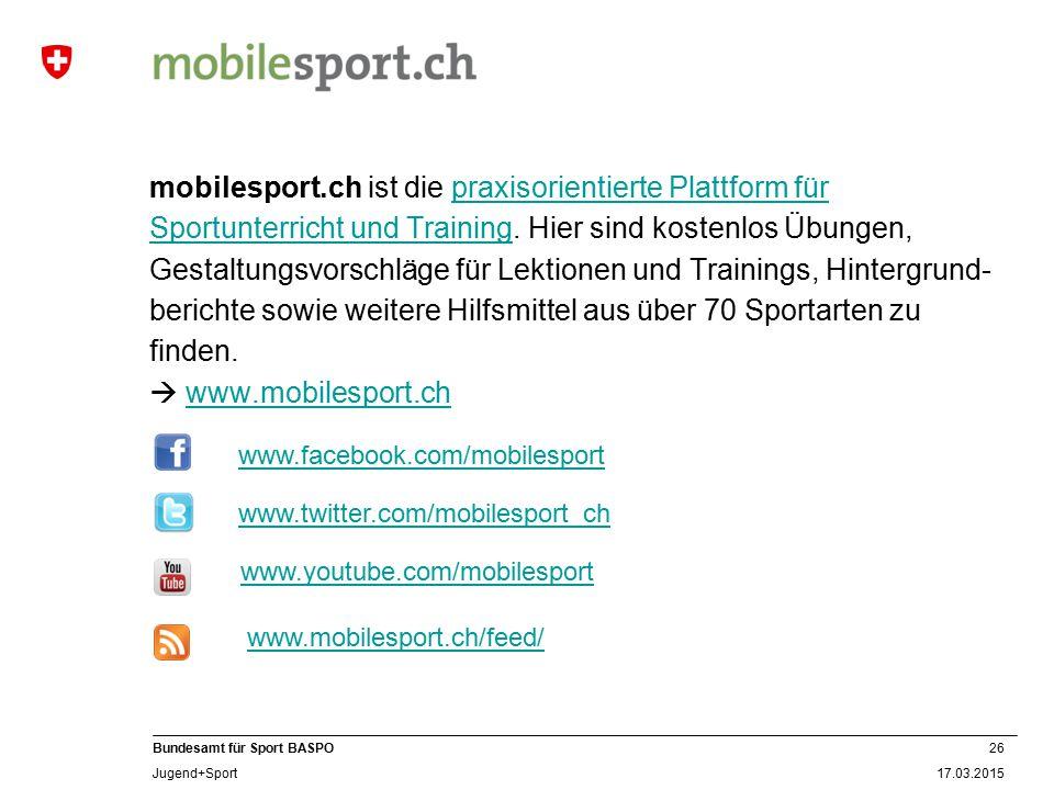 mobilesport.ch ist die praxisorientierte Plattform für Sportunterricht und Training. Hier sind kostenlos Übungen, Gestaltungsvorschläge für Lektionen und Trainings, Hintergrund-berichte sowie weitere Hilfsmittel aus über 70 Sportarten zu finden.  www.mobilesport.ch