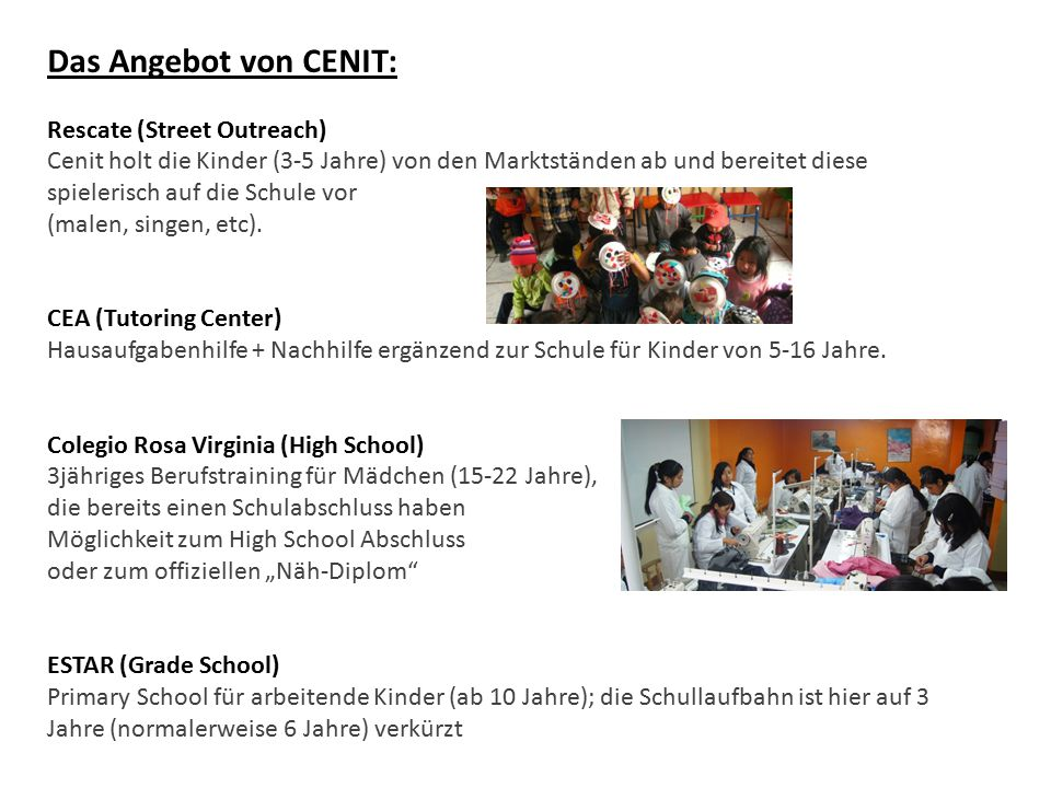 Das Angebot von CENIT: Rescate (Street Outreach)