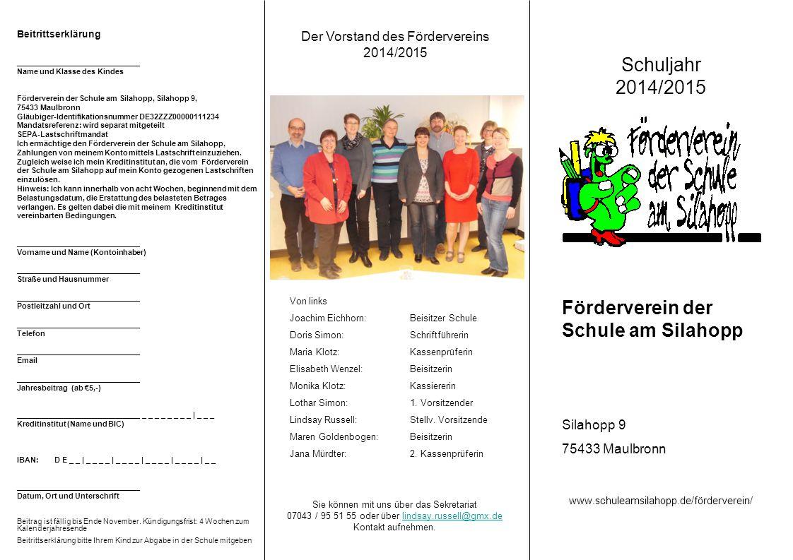 Der Vorstand des Fördervereins 2014/2015