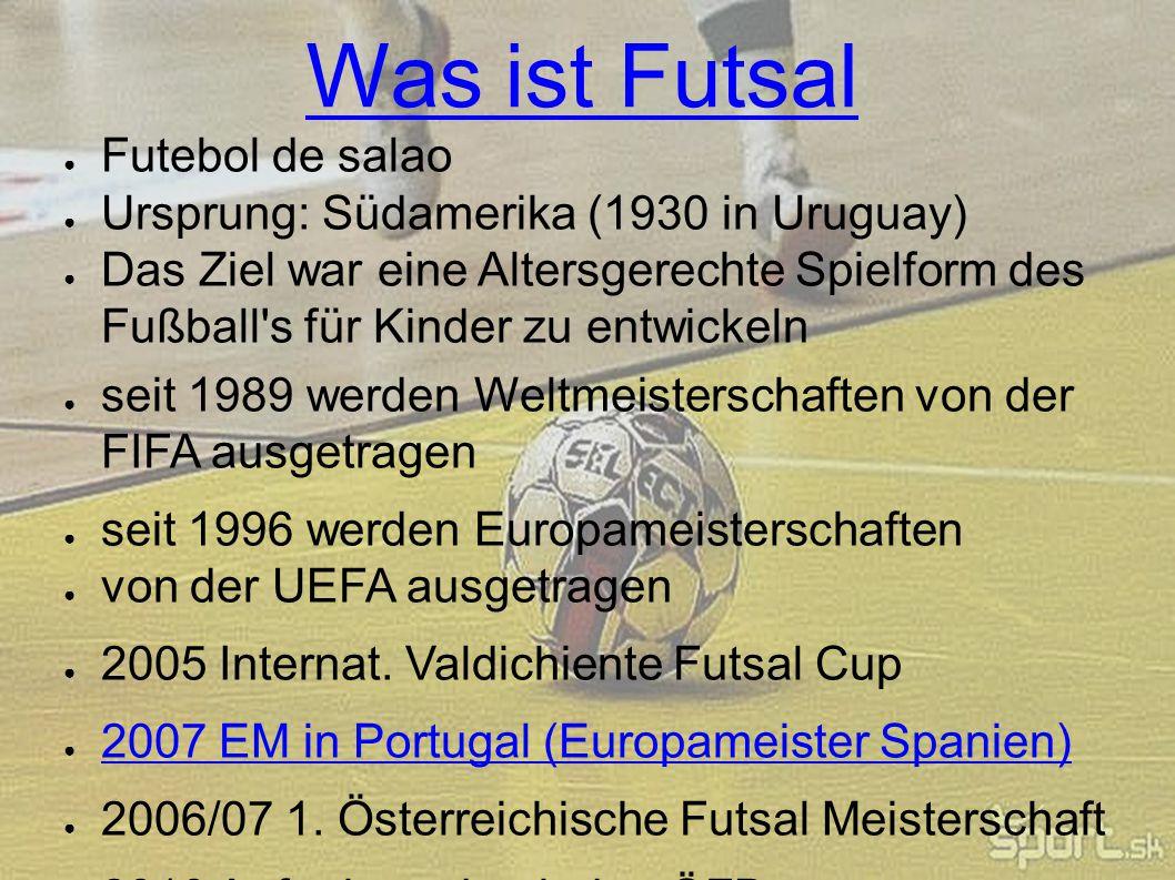 Was ist Futsal Futebol de salao Ursprung: Südamerika (1930 in Uruguay)