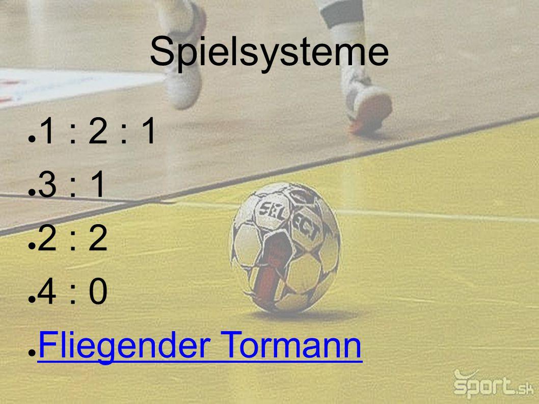 Spielsysteme 1 : 2 : 1 3 : 1 2 : 2 4 : 0 Fliegender Tormann