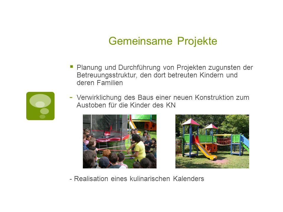Gemeinsame Projekte Planung und Durchführung von Projekten zugunsten der Betreuungsstruktur, den dort betreuten Kindern und deren Familien.