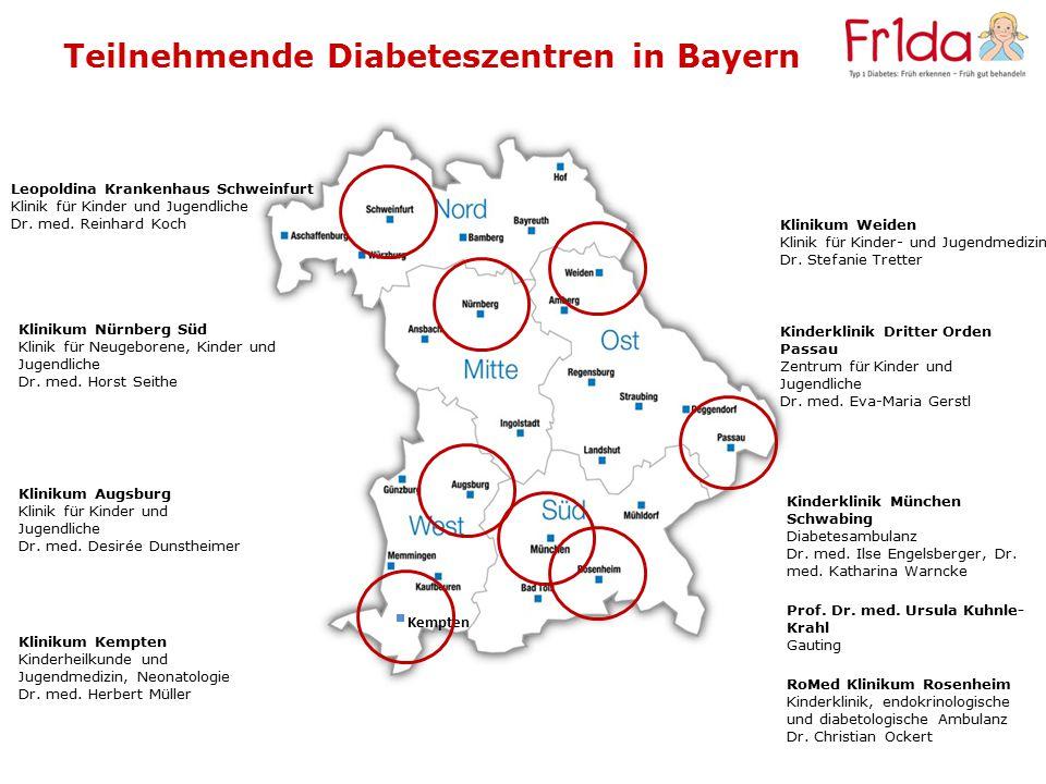 Teilnehmende Diabeteszentren in Bayern