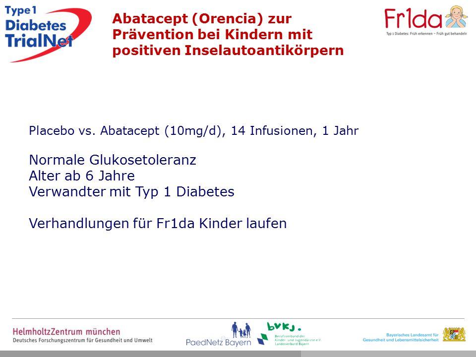 Normale Glukosetoleranz Alter ab 6 Jahre Verwandter mit Typ 1 Diabetes