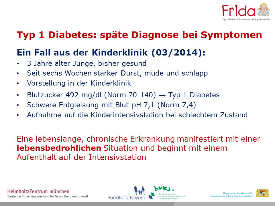 Typ 1 Diabetes: späte Diagnose bei Symptomen