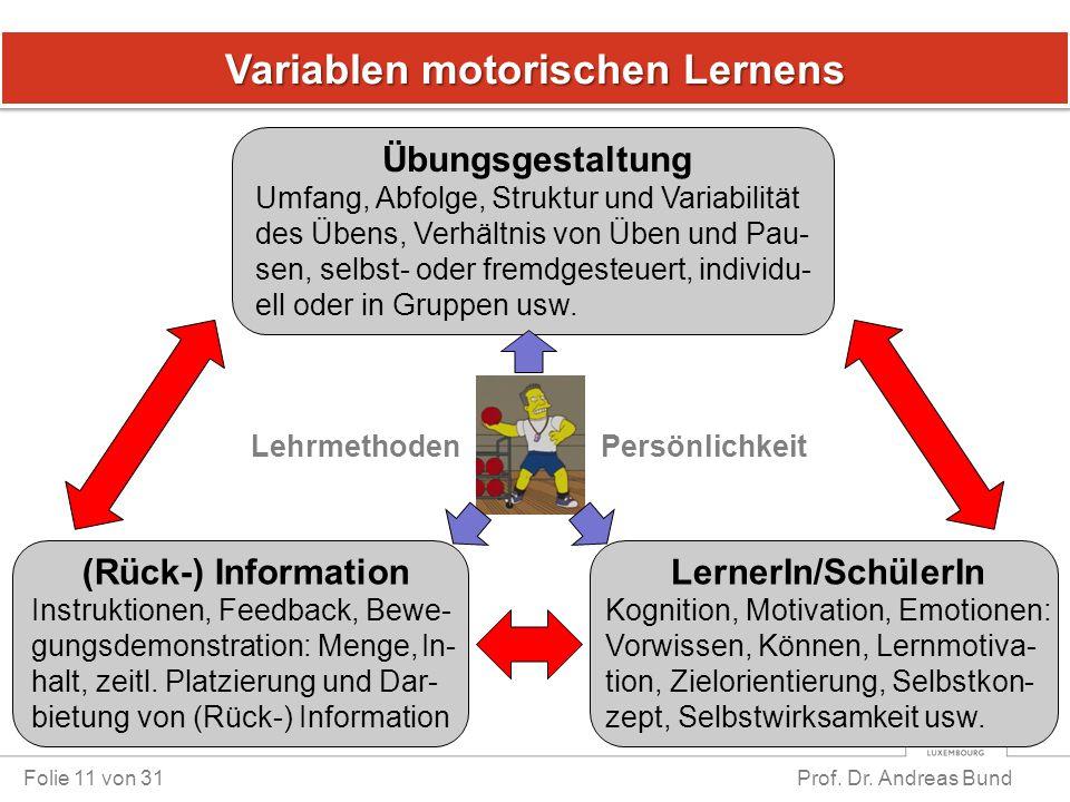 Variablen motorischen Lernens