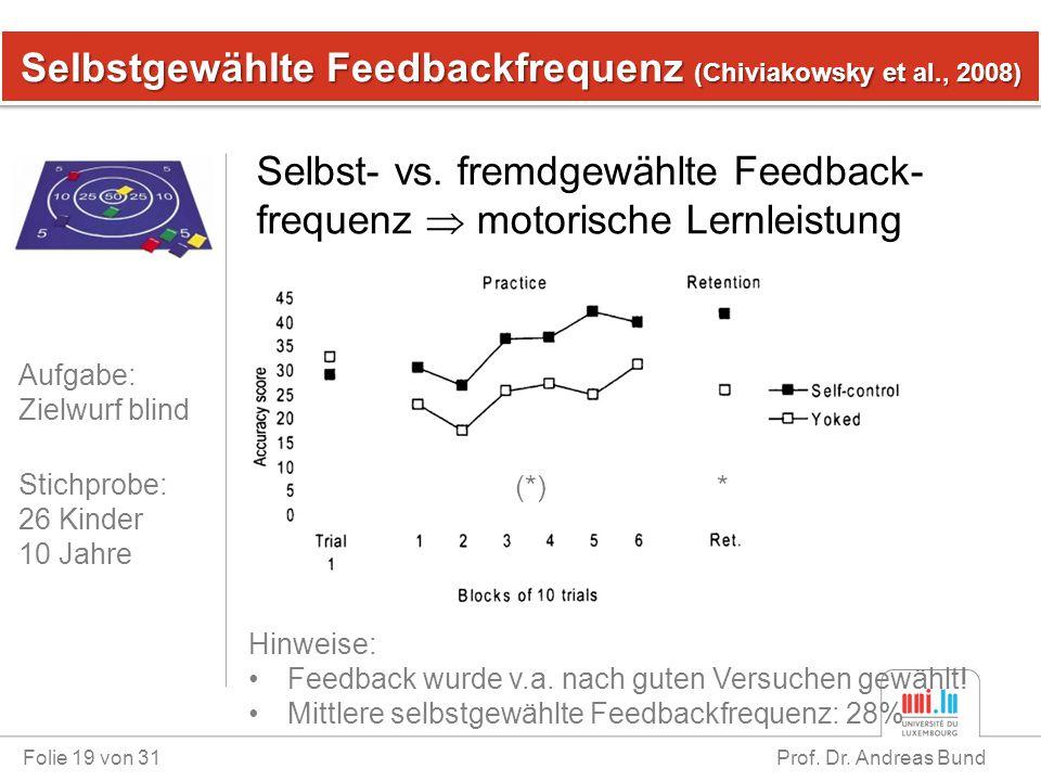 Selbstgewählte Feedbackfrequenz (Chiviakowsky et al., 2008)