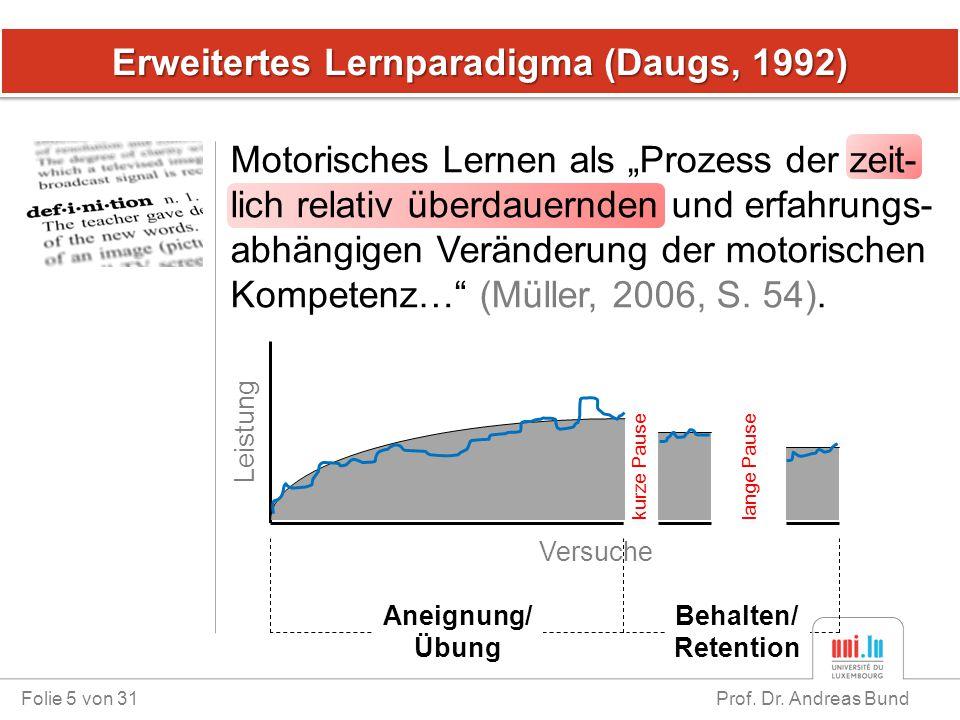 Erweitertes Lernparadigma (Daugs, 1992)