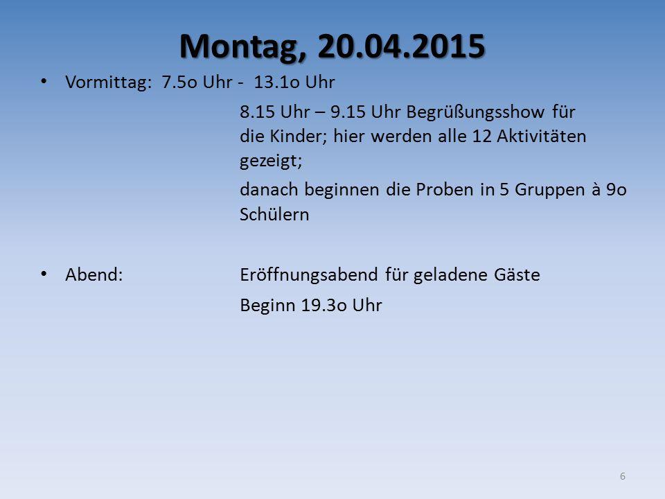 Montag, 20.04.2015 Vormittag: 7.5o Uhr - 13.1o Uhr