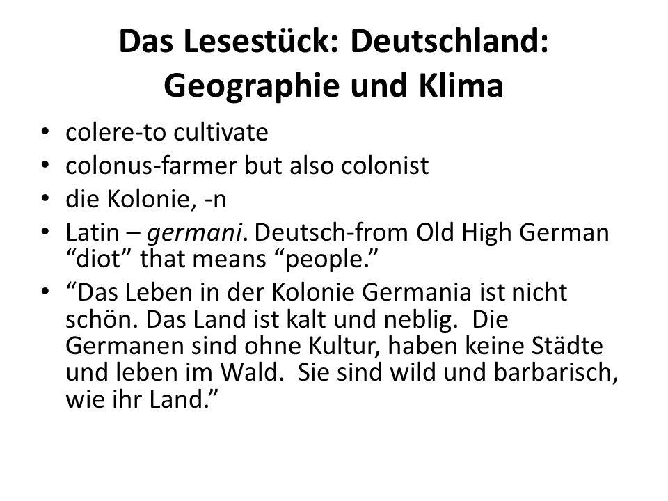 Das Lesestück: Deutschland: Geographie und Klima