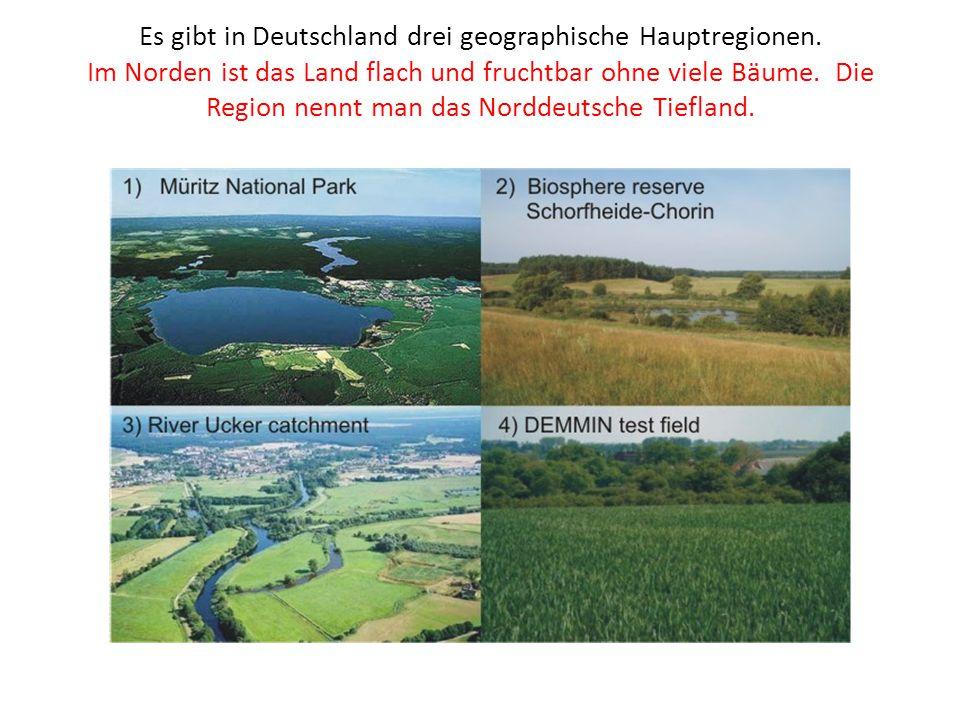 Es gibt in Deutschland drei geographische Hauptregionen