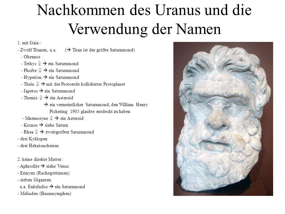 Nachkommen des Uranus und die Verwendung der Namen
