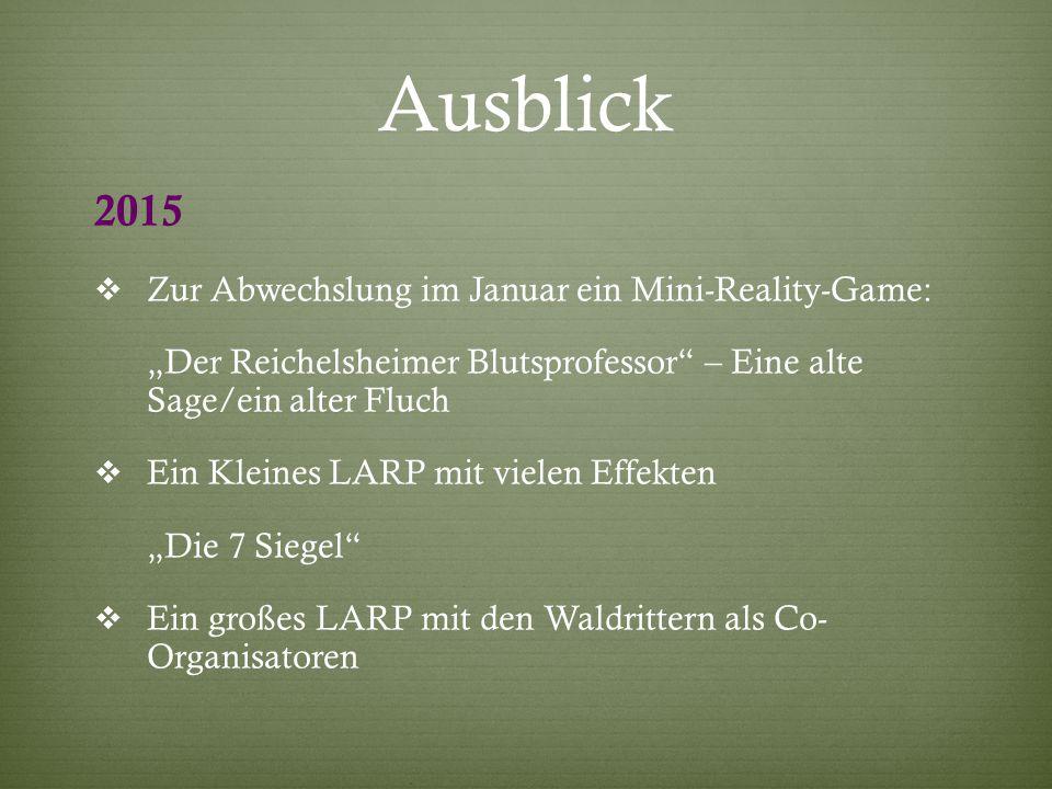 Ausblick 2015 Zur Abwechslung im Januar ein Mini-Reality-Game: