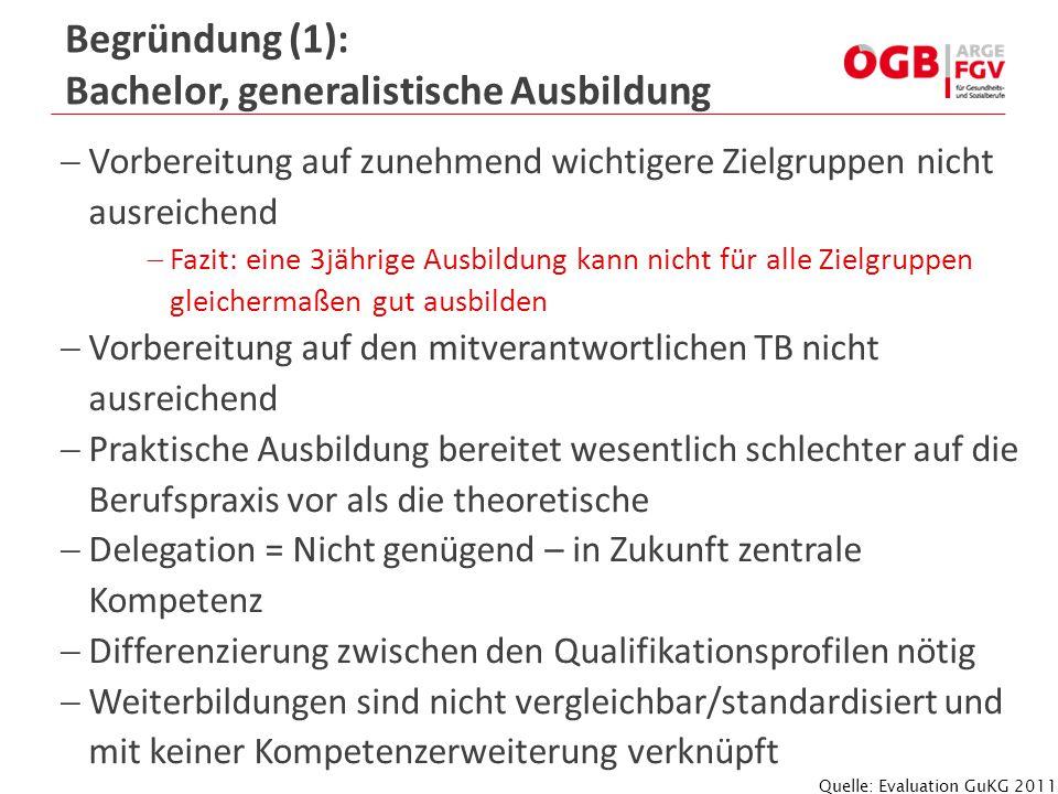 Begründung (1): Bachelor, generalistische Ausbildung
