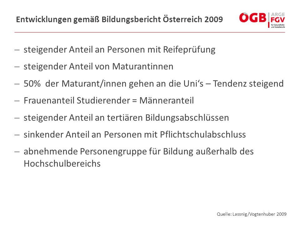Entwicklungen gemäß Bildungsbericht Österreich 2009