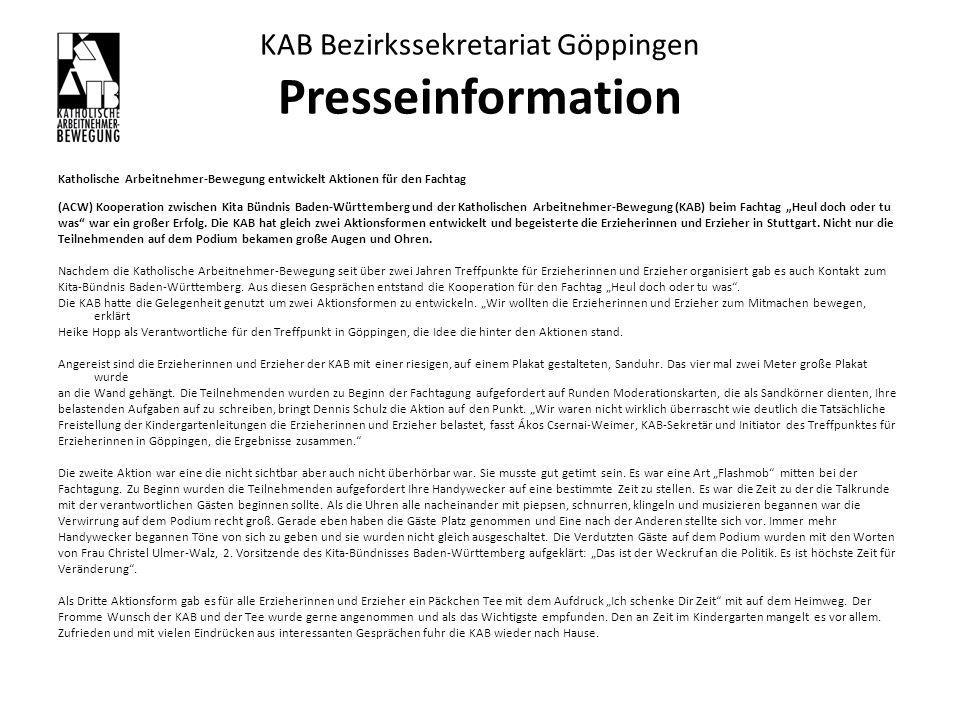KAB Bezirkssekretariat Göppingen Presseinformation