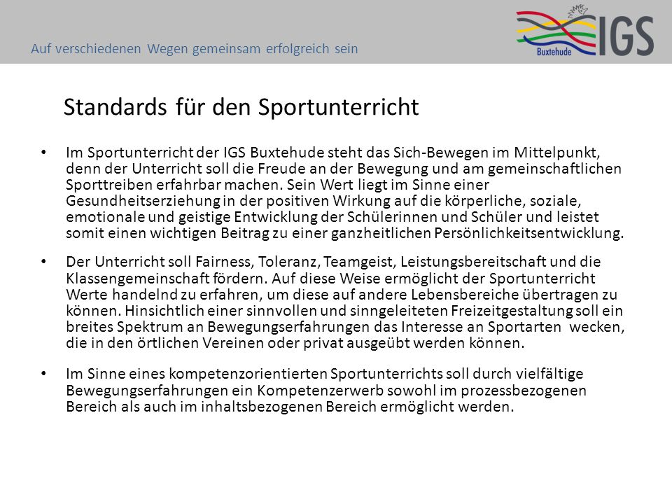 Standards für den Sportunterricht